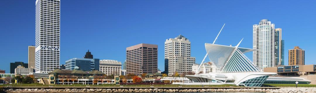 Milwaukee skyline waterfront view