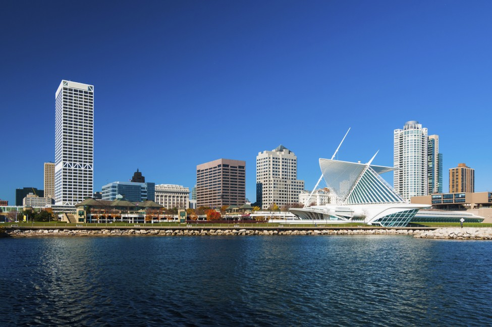 Milwaukee skyline waterfront view