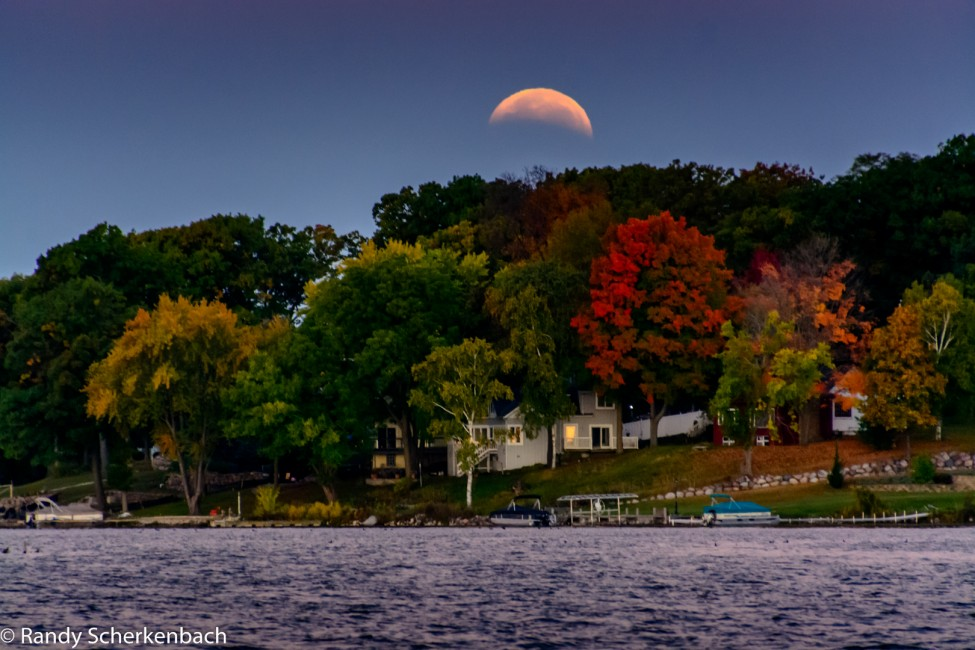 Lunar Eclipse over Pewaukee Lake, Pewaukee Wisconsin USA.